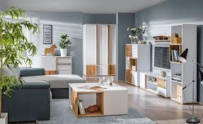 wohnzimmer komplett set a lefua 8 teilig farbe weiß nussfarben