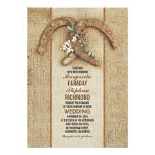 Rustic Burlap Wedding Invitation With Horseshoes