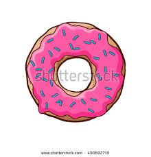 Vector illustration of pink donut