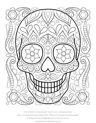 Free Sugar Skull Coloring Page Printable Day Of The Dead Throughout Pages For Adults