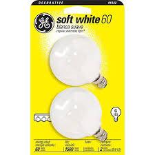 ge 60 watt g16 1 2 globe 2 pack candelabra base light bulbs