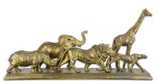 casa padrino deko skulpturen tiere afrikas antik gold 68 x 15 2 x h 32 8 cm polyresin dekofiguren wohnzimmer deko