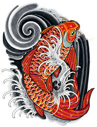 Koi Drawing Inspired By Japanese Tattoo Art Done With Copic Markers