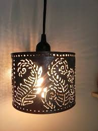 Punched Tin Lamp Shades Uk by Pendant Lamp Metal Lighting Farmhouseboho Lightingfern