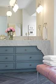 pink and blue bathroom with lucite bench contemporary bathroom