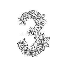 Download Number 3 Coloring Book For Adults Vector Stock