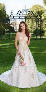 metallic applique illusion wedding dress by camille la vie