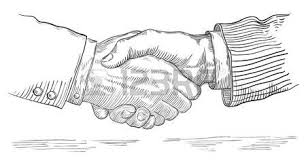 People Shaking Hands Vector Of Handshake Two Businessmen At Retro Engraving Style