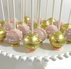 Upside down pink & gold Cakepops with flat bottom base and stripes