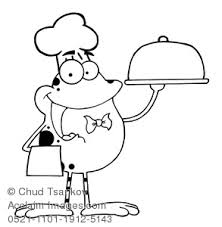 Clipart Image Of Animal Coloring Page A Frog Wearing Chefs Hat Holding Serving Tray