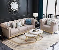 chesterfield edelstahl polster sitz garnitur sofa wohnzimmer 3 1 1 textil