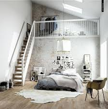 InteriorVintage Exposed White Brick Wall Bedroom Interior Design With Mezzanine Level Also Grey Bedding