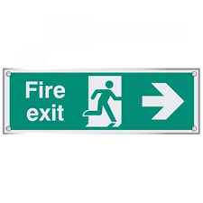100 Exit C Fire Exit Right Visual Impact 5mm Acrylic Sign 450x150mm Cw