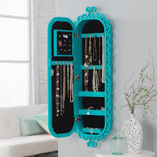 Mirrored Jewelry Box Armoire by Belham Living Wall Scroll Locking Jewelry Armoire Turquoise