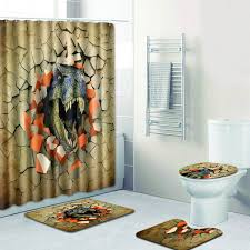 RANSXYX 4 Piece Bathroom Set3D Painting Dinosaur Waterproof Shower Curtain NonSlip Contour Rug Toilet Lid Cover And Bath Mat