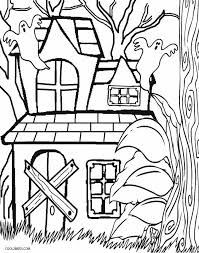 Simple Haunted House Coloring Page
