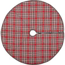 Anderson Cherry Red Rustic Christmas Decor Plaid Tree Skirt