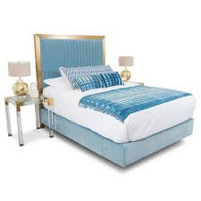 Blue Velvet King Headboard by Ibiza Bed In Light Blue Velvet Modshop