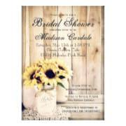Rustic Sunflowers Mason Jar Bridal Shower Invites
