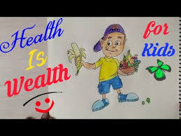 How to Draw Eating Healthy Food Drawing for kids step by step Health is Wealth coloring drawing