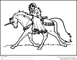 Unicorn And Princess Coloring Pages