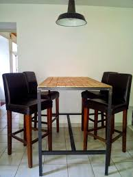 fabriquer table haute cuisine table haute fabrication artisanale cadre en acier brut noir et
