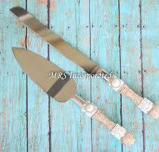 Rustic Cake Knife And Server Set Burlap Theme Cutter Wedding