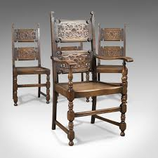 Scottish Set Of 4 Antique Oak Dining Chairs C.1900 - LFA-1733 ... Tiger Oak Fniture Antique 1900 S Tiger Oak Round Pedestal With Ding Chairs French Gothic Set 6 Wood Leather 4 Victorian Pressed Spindle Back Circa Room 1900s For Sale At Pamono Antique Ding Chairs Of Eight Chippendale Style Mahogany 10 Arts Crafts Seats C1900 Glagow Antiques Atlas Edwardian Queen Anne Revival Table 8 Early Sets 001940s Extendable With Ball Claw Feet Idenfication Guide