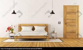 lizenzfreies bild 20188075 modernes schlafzimmer mit holzbett