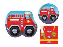 100 Fire Truck Plates Fighter 16 Child Birthday Party Bundle 3 Items