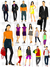 Men And Women In Casual Clothing Royalty Free Vector Clip Art