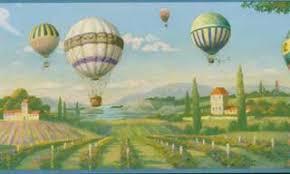 Hot Air Balloons Over Vineyard Wallpaper Border
