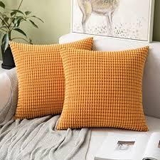miulee 2er set kissen kordsamt kissenbezüge kissenbezug polyester weich bequem für autos wohnzimmer schlafzimmer dekor orange 16x16inch 40x40cm