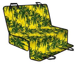Yellow Palm Tree Pattern Print Pet Car Back Seat Cover ...
