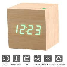 le bureau led led réveil en bois affichage numérique avec contrôle du