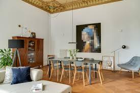 esszimmer mit großem wandbild contemporary living room