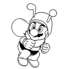 Free Printable Mario Dressed As Honey Bee Colouring Pages