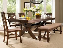 Roundhill Furniture Karven 6 Piece Solid Wood Dining Set With Table 4 Chairs And