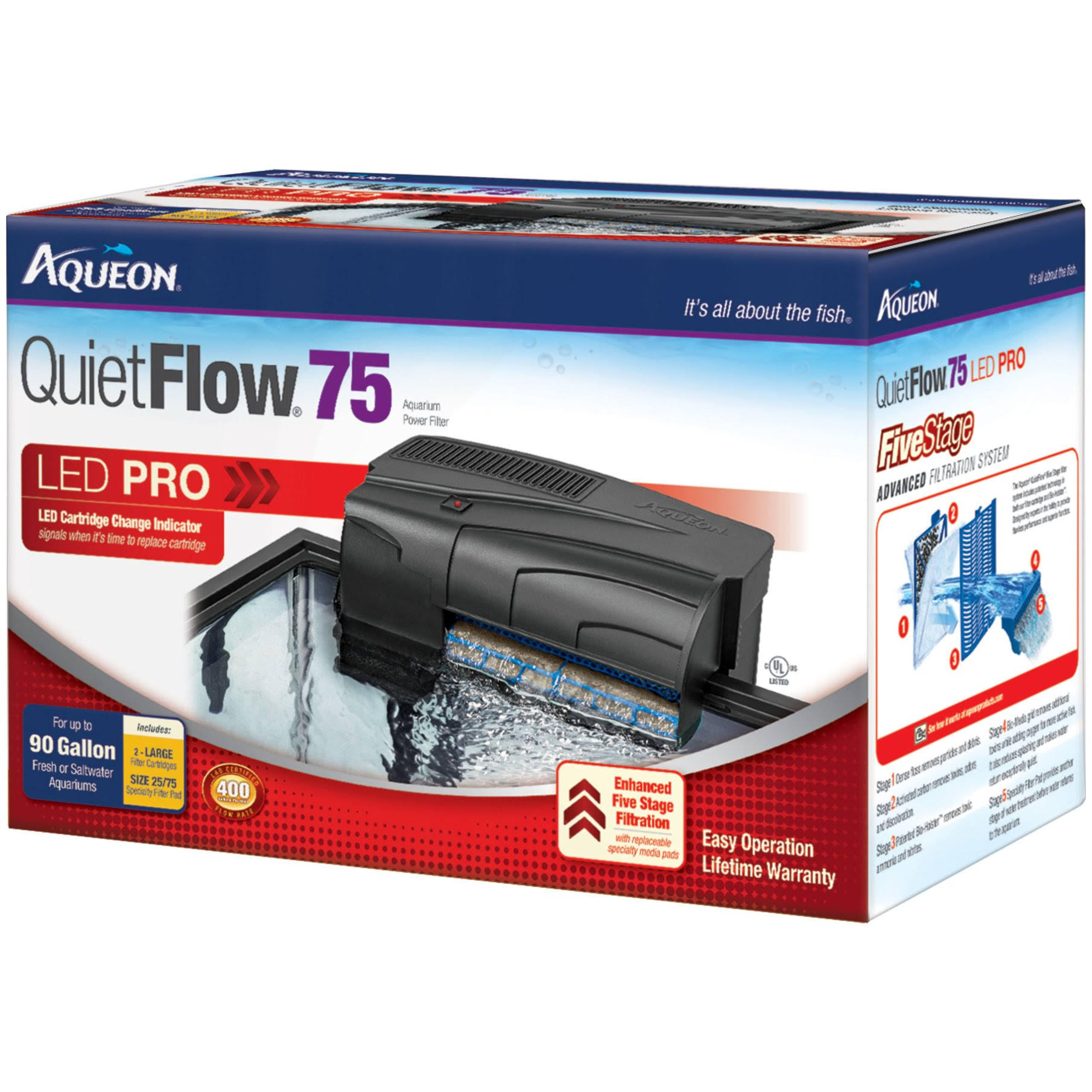 Aqueon Quiet Flow 55/75 Aquarium Power Filter