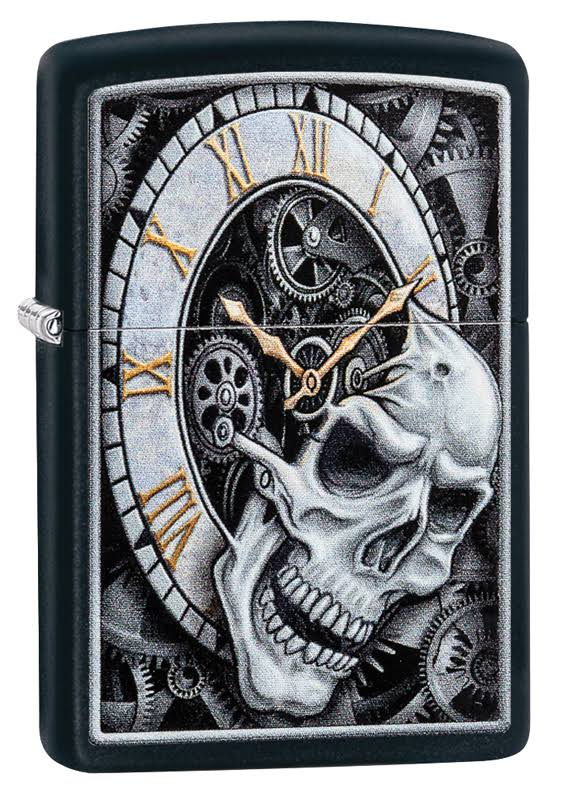 Zippo Skull Clock Design Windproof Lighter - Matte Black