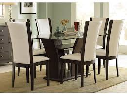 Dining Room Rectangular Glass Table Design Ideas And White Chairs With High