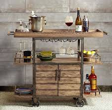Patio Ideas Rustic Bar Cart Portable Serving Tray Wine Beverage