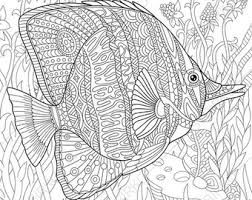Adult Coloring Pages Butterflyfish Zentangle Doodle For Adults Digital Illustration