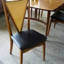 6 Vintage Mid Century Black Vinyl And Wood Chairs Sale