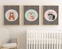 Woodland Creatures Nursery Bedding by Nursery Print Set Etsy