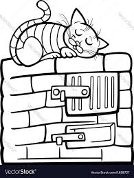 Cat On Stove Cartoon Coloring Page Vector Image