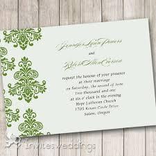 Green Damask Rustic Wedding Invitations IWI290