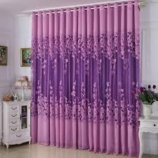 landhaus gardine lila jacquard design im wohnzimmer