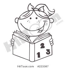 Coloring Page Outline Of A Girl Reading Math Book 223307