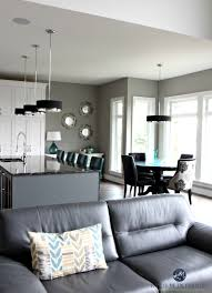 Contemporary Open Layout Living Room Kitchen And Dining Sherwin Williams Dorian Gray Kylie M Interiors Decorating E Decor Services